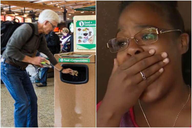 Lady Sees Crying Man Forced To Throw Package In Airport Trash, What She Digs Out Sparks A Massive Search - 0