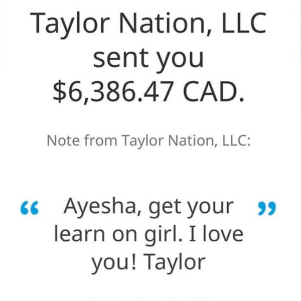 Taylor Swift College Tuition