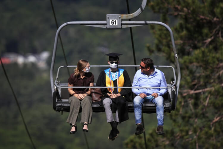 New Hampshire High School Ski Lift Graduation